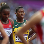 Caster Semenya, South Africa, in action in the Women's 800m Semi Final at the Olympic Stadium, Olympic Park, during the London 2012 Olympic games. London, UK. 9th August 2012. Photo Tim Clayton