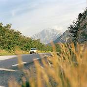 Car driving through country roads of the Provence-Alpes-Cote-D'Azur region of France