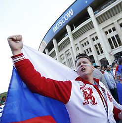 June 14, 2018 - Moscow, Russia - Group A Russia v Saudi Arabia - FIFA World Cup Russia 2018.Russian fans celebrate after the match at Luzhniki Stadium in Moscow, Russia on June 14, 2018..Photo Matteo Ciambelli / NurPhoto  (Credit Image: © Matteo Ciambelli/NurPhoto via ZUMA Press)