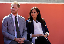 The Duke and Duchess of Sussex attend an Investiture for Michael McHugo the founder of 'Education for All', where he received an MBE, during their visit to the original 'Education For All' boarding house in Asni Town, Atlas Mountains on the second day of their tour of Morocco.