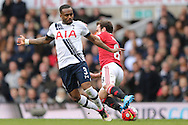 Danny Rose of Tottenham Hotspur intercepts Juan Mata of Manchester United. Barclays Premier league match, Tottenham Hotspur v Manchester Utd at White Hart Lane in London on Sunday 10th April 2016.<br /> pic by John Patrick Fletcher, Andrew Orchard sports photography.