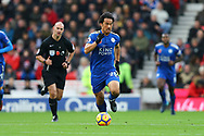 Shinji Okazaki of Leicester City in action. Premier league match, Stoke City v Leicester City at the Bet365 Stadium in Stoke on Trent, Staffs on Saturday 4th November 2017.<br /> pic by Chris Stading, Andrew Orchard sports photography.