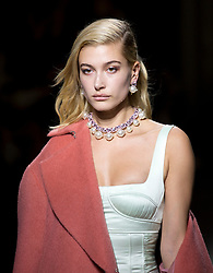 Hailey Baldwin on the catwalk during the TOPSHOP London Fashion Week SS18 show held at Topshop Showspace, London