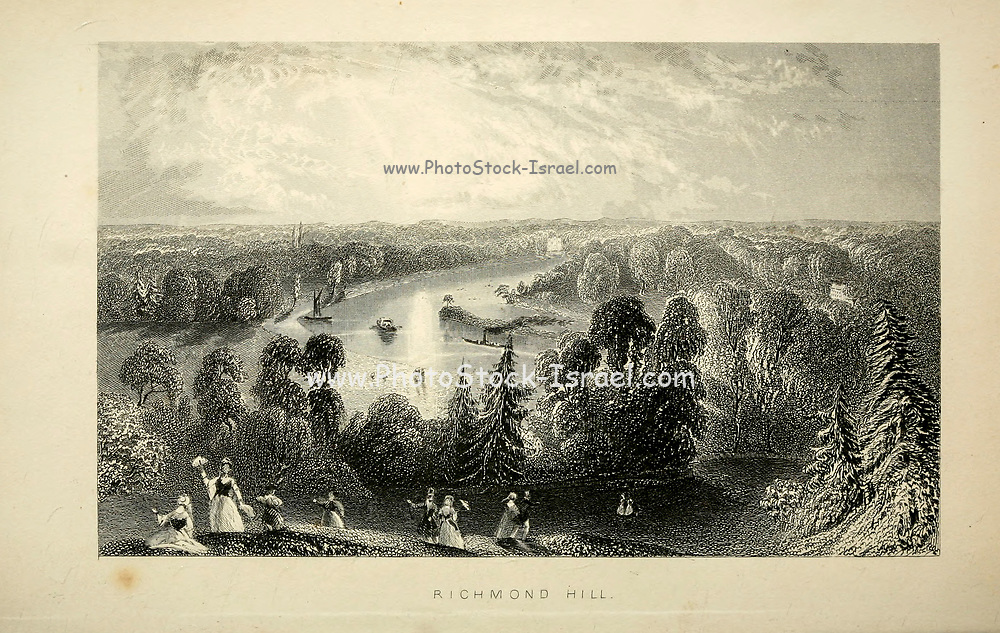 London - Richmond Hill From the book Illustrated London, or a series of views in the British metropolis and its vicinity, engraved by Albert Henry Payne, from original drawings. The historical, topographical and miscellanious notices by Bicknell, W. I; Payne, A. H. (Albert Henry), 1812-1902 Published in London in 1846 by E.T. Brain & Co