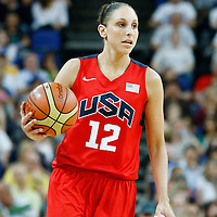 09 August 2012: USA Diana Taurasi brings the ball upcourt during 86-73 Team USA victory over Team Australia, during the women's basketball quarter-finals, at the 02 Arena, in London, Great Britain.