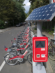 New solar powered  hire station for Call-a-bike cycle rental service in Berlin Germany