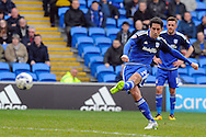 Cardiff City's Peter Whittingham has a free kick at goal. Skybet football league championship match, Cardiff city v Ipswich Town at the Cardiff city stadium in Cardiff, South Wales on Saturday 12th March 2016.<br /> pic by Carl Robertson, Andrew Orchard sports photography.