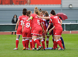 Bristol Academy players break from their team huddle to face Notts County Ladies FC - Photo mandatory by-line: Paul Knight/JMP - Mobile: 07966 386802 - 25/04/2015 - SPORT - Football - Bristol - Stoke Gifford Stadium - Bristol Academy Women v Notts County Ladies FC - FA Women's Super League