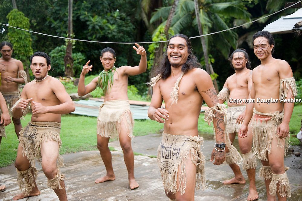 Polynesian dancers, Puamau, Hiva Oa, Marquesas Islands, French Polynesia, (Editorial use only)<br />