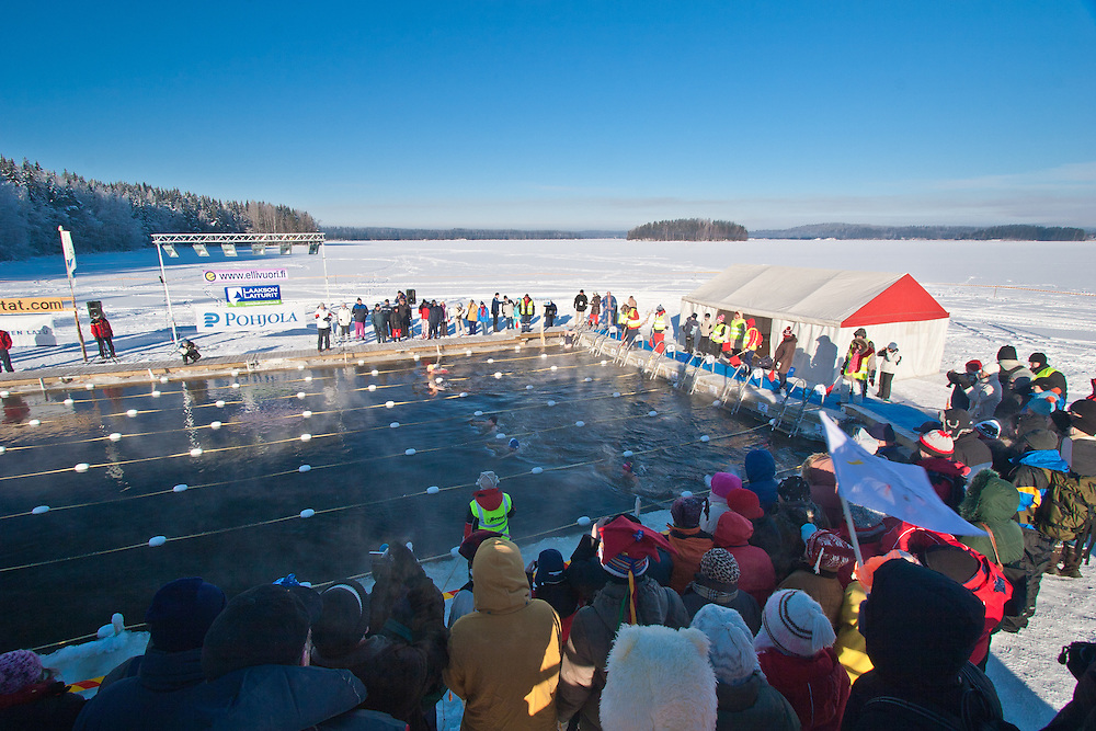 Finnish Ice Swimming Championships in Ellivuori, Finland. The temperature during the competition was -25 ºC  (-13 ºF).