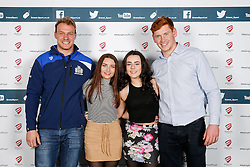 Mitch Eadie and Jack Tovey of Bristol Rugby pose during the Player Sponsors' Dinner in the Heineken Lounge at Ashton Gate - Mandatory byline: Rogan Thomson/JMP - 08/02/2016 - RUGBY UNION - Ashton Gate Stadium - Bristol, England - Bristol Rugby Player Sponsors' Dinner.