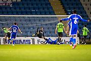 GOAL 2-1 Gillingham forward Dominic Samuel (9) scores during the EFL Sky Bet League 1 match between Gillingham and AFC Wimbledon at the MEMS Priestfield Stadium, Gillingham, England on 24 November 2020.