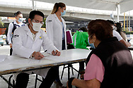 A health worker takes the data of a person to make a rapid test to detect the SARS-Cov-2 who causes the disease of Covid-19 . Since the beginning of the pandemic, the total number of infected has risen to 821,045. On October 13, 2020 in Mexico City, Mexico (Photo by Leonardo Casas/ Eyepix Group/Speed Media)