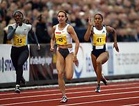 Friidrett, 12 juni 2004, Bergen Bislett Games, Golden League,   Chryste Gaines (15), USA,  Kim Gevaert, Belgia (46) og Torri Edwards (41), USA