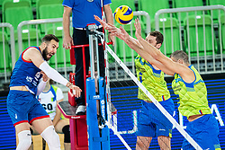 Toncek Stern and Alen Pajenk of Slovenia in block during friendly volleyball match between Slovenia and Serbia in Arena Stozice on 2nd of September, 2019, Ljubljana, Slovenia. Photo by Grega Valancic / Sportida