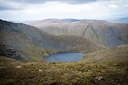 Scales Tarn glacial lake beneath Sharp Edge of Blencathra mountain, Lake Districts, Cumbria, UK.