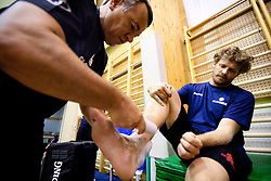 Physiotherapist Teo Djekic and Miha Zupan during practice session of Slovenian National Basketball team during training camp for Eurobasket Lithuania 2011, on July 12, 2011, in Arena Vitranc, Kranjska Gora, Slovenia. (Photo by Vid Ponikvar / Sportida)
