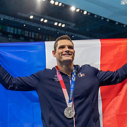 TOKYO, JAPAN - AUGUST 1:  Florent Manaudou of France with his silver medal after the presentation for the 50m freestyle for men during the Swimming Finals at the Tokyo Aquatic Centre at the Tokyo 2020 Summer Olympic Games on August 1, 2021 in Tokyo, Japan. (Photo by Tim Clayton/Corbis via Getty Images)