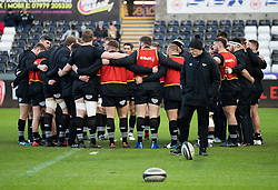 Ospreys players huddle during the pre match warm up<br /> <br /> Photographer Simon King/Replay Images<br /> <br /> Guinness PRO14 Round 13 - Ospreys v Cardiff Blues - Saturday 6th January 2018 - Liberty Stadium - Swansea<br /> <br /> World Copyright © Replay Images . All rights reserved. info@replayimages.co.uk - http://replayimages.co.uk