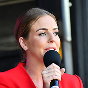 Lydia Bright is the presenter for the Feast of St George to celebrate English culture with music and English food stalls in Trafalgar Square on 20 April 2019, London, UK.