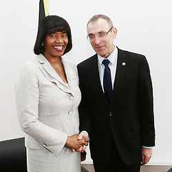 27 November 2013 - Belgium - Brussels - European Development Days - EDD - Bilateral between  Andris Piebalgs EU Commissioner for Development and Portia Simpson-Miller Prime Minister of Jamaica  © European Union