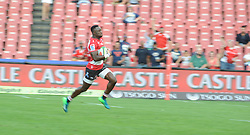 070418 Emirates Airlines Park, Ellis Park, Johannesburg, South Africa. Super Rugby. Lions vs Stormers. Madosh Tambwe heads for the tryline following a breakaway ball in the first half.<br />Picture: Karen Sandison/African News Agency (ANA)