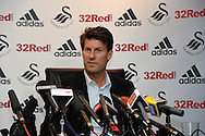 Michael Laudrup is officially announced as the new Swansea city FC manager at a press conference at the Liberty Stadium in Swansea, South Wales on Thursday 21st  June 2012. pic by Andrew Orchard, Andrew Orchard sports photography,