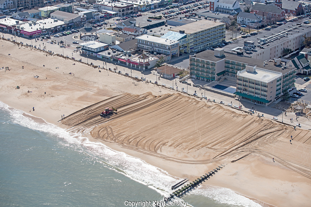 Springtime is coming to Rehoboth Beach, Delaware!  Work is ongoing to rebuild the dunes in front the boardwalk.