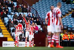 Stoke Forward Peter Crouch (ENG) celebrates scoring a goal - Photo mandatory by-line: Rogan Thomson/JMP - 07966 386802 - 23/03/2014 - SPORT - FOOTBALL - Villa Park, Birmingham - Aston Villa v Stoke City - Barclays Premier League.