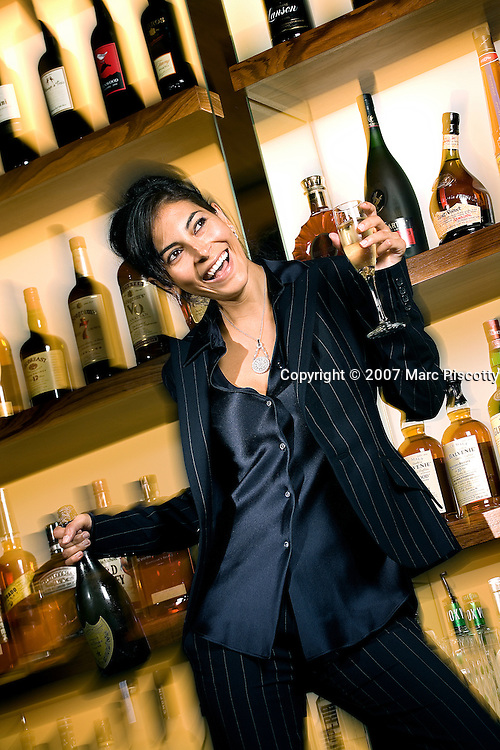 """SHOT 6/4/2007 - """"Working Girl"""" fashion shoot for Shine Magazine with Heather Knapp of Donna Baldwin at The Corner Office restaurant and bar at The Curtis hotel in Denver, Co..(Photo by Marc Piscotty / © 2007)"""