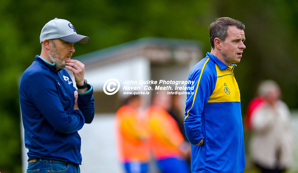 Full Time Score 2 - 2<br /> <br /> Skryne/Tara assistant manager, Mark Pentony (left) with Manager, Jack Conroy  at the Skryne/Tara v Balrath, North East Football League Women's Div South match, at Ross Cross, Tara.<br /> <br /> Photo: GERRY SHANAHAN-WWW.QUIRKE.IE<br /> <br /> 26-06-2021