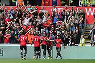 Manchester Utd fans and players celebrate after they score their 2nd goal ,scored by Paul Pogba (c).   Premier league match, Swansea city v Manchester Utd at the Liberty Stadium in Swansea, South Wales on Saturday 19th August 2017.<br /> pic by  Andrew Orchard, Andrew Orchard sports photography.