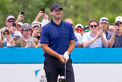 May 9, 2019 - Dallas, TX, U.S. - DALLAS, TX - MAY 09: Tony Romo prepares to hit his opening tee shot on #1 during the first round of the AT&T Byron Nelson on May 9, 2019 at Trinity Forest Golf Club in Dallas, TX. (Photo by Andrew Dieb/Icon Sportswire) (Credit Image: © Andrew Dieb/Icon SMI via ZUMA Press)