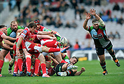 Scarlets scrum half Rhodri Williams box-kicks the ball away as Harlequins prop Will Collier looks to charge the ball down - Photo mandatory by-line: Patrick Khachfe/JMP - Tel: Mobile: 07966 386802 12/10/2013 - SPORT - RUGBY UNION - Twickenham Stoop - London - Harlequins V Scarlets - Heineken Cup