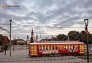 Streetcar passes in front of Jackson Square in New Orleans, Louisiana, USA