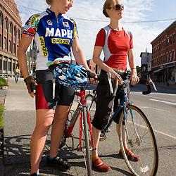 Biking on Main Street in St Johnsbury Vermont USA
