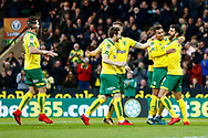 Norwich City midfielder Josh Murphy (11) scores and celebrates  during the EFL Sky Bet Championship match between Norwich City and Barnsley at Carrow Road, Norwich, England on 18 November 2017. Photo by Phil Chaplin.