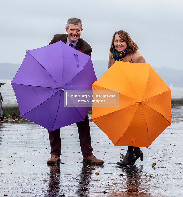 Pictured: Willie Rennie and Christine Campbell<br />.<br />Leader Willie Rennie was joined by Alistair Carmichael, Christine<br />Jardine and other election candidates at the Cramond foreshore to launch the Scottish Liberal Democrat election campaign <br />Ger Harley | EEm 7 November 2019