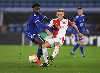 Football - 2020 / 2021 Europa League - Round of 32 - Second Leg - Leicester City vs Slavia Prague - King Power Stadium<br /> <br /> Slavia Prague's Jan Kuchta holds off the challenge from Leicester City's Wilfred Ndidi.<br /> <br /> COLORSPORT/ASHLEY WESTERN