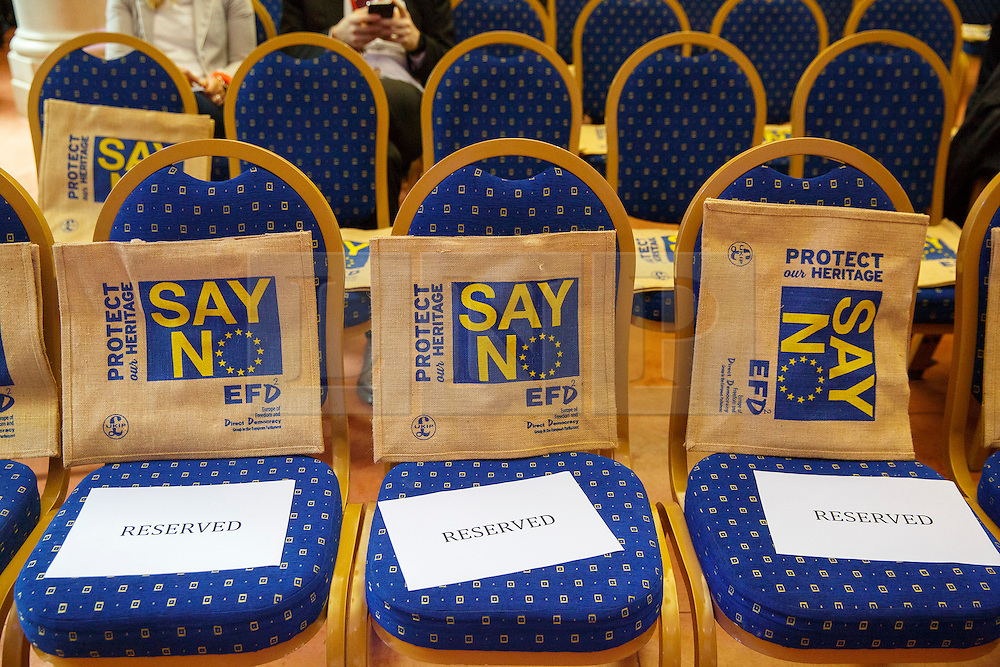 © Licensed to London News Pictures. 30/07/2015. London, UK. 'Say No' bags left for members of media as UKIP leader Nigel Farage gives a speech on how the No campaign can win the EU referendum at Emmanuel Centre in central London on Thursday, July 30, 2015. Photo credit: Tolga Akmen/LNP
