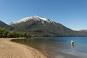 Man fishing, Man fishing, Lago Hermoso, Neuqu?n Region, Argentina, South America
