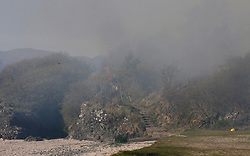 A gorse fire at the popular seaside beach at Ganavan Sands, Oban forced the evacuation of the beach by police officers until the fire was extinguished by Scottish Fire & Rescue Service......... <br /> (c) Stephen Lawson   Edinburgh Elite media