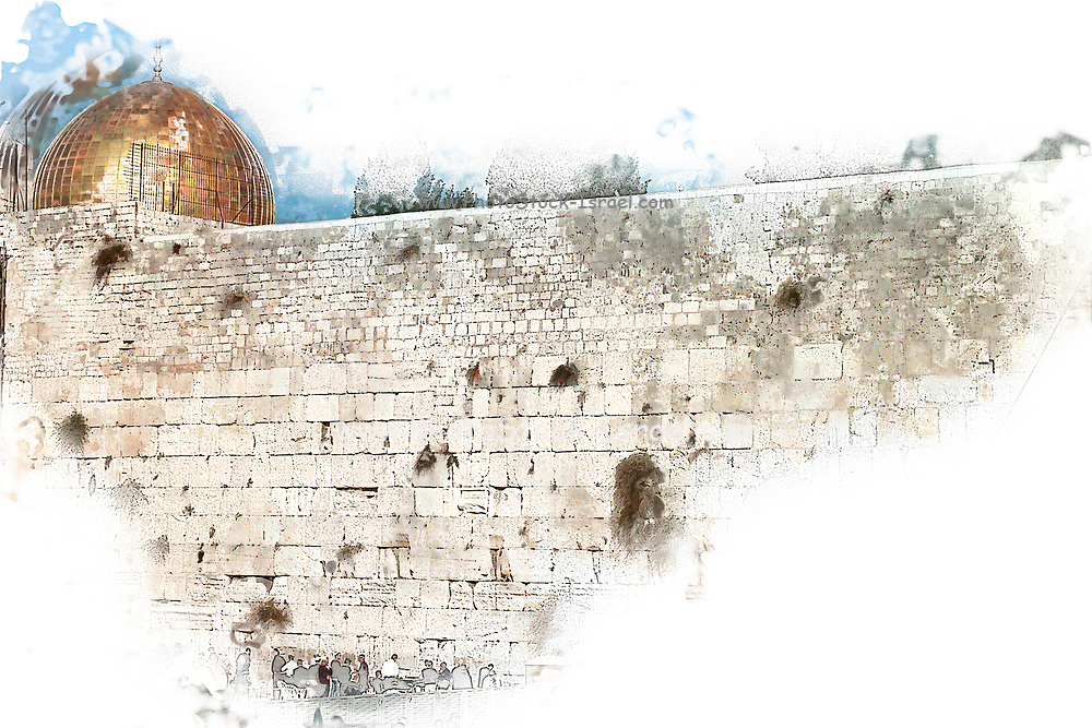 wailing wall and dome of the rock in Jerusalem, Israel