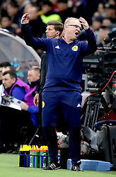 Scotland's Alex McLeish gestures on the touchline during the UEFA Euro 2020 Qualifying, Group I match at the Astana Arena.