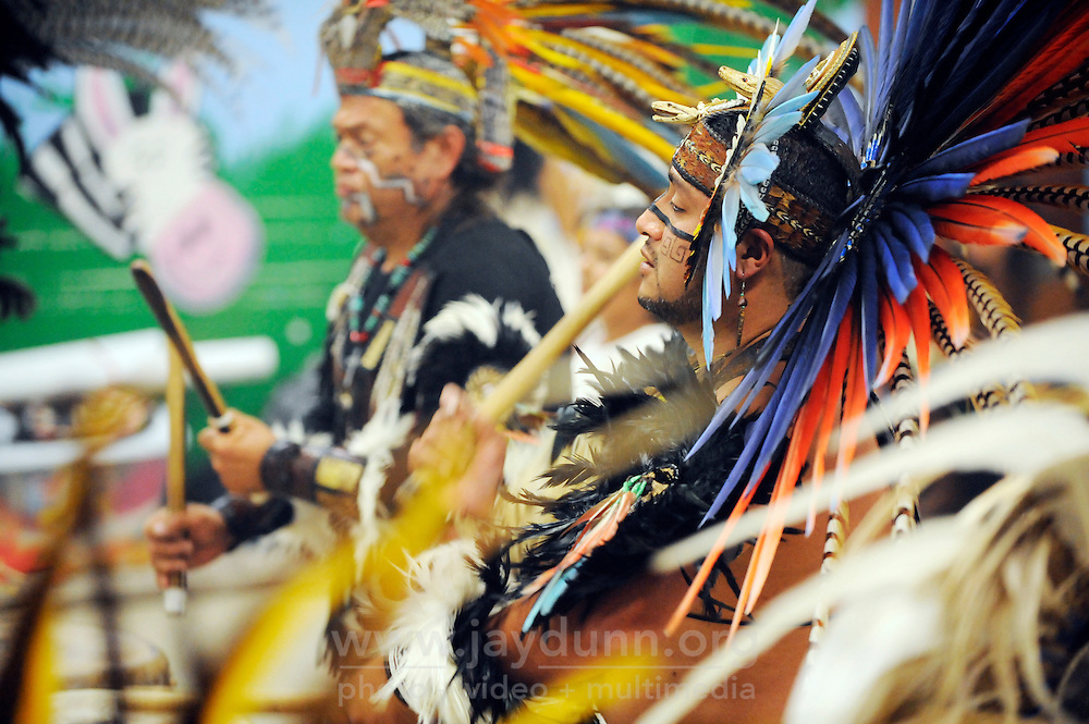 """The powerful sound of the """"huehuetl"""" drums drives Yaocuauhtli's sixth annual gathering called """"Day of Indigenous Resistance."""" Held as a deliberate counterpoint to Columbus Day, which is also sometimes called """"Day of the Races,"""" or """"Hispanic Day,"""" the event on October 11th, 2012 was meant to highlight long-standing New World traditions, saying """"We are Aztecas, Zapotecas, Mexicas, Toltecas, Huicholes, Trikis, Mayas, Incas, Tarahumara, etc,"""" and encouraging everyone to express pride in their pre-Colombian identities."""