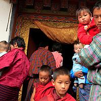 Asia, Bhutan, Punakha. Entrance to Chimi Lhakhang temple, a sacred pilgrimage site for Bhutanese couples seeking fertility blessings.