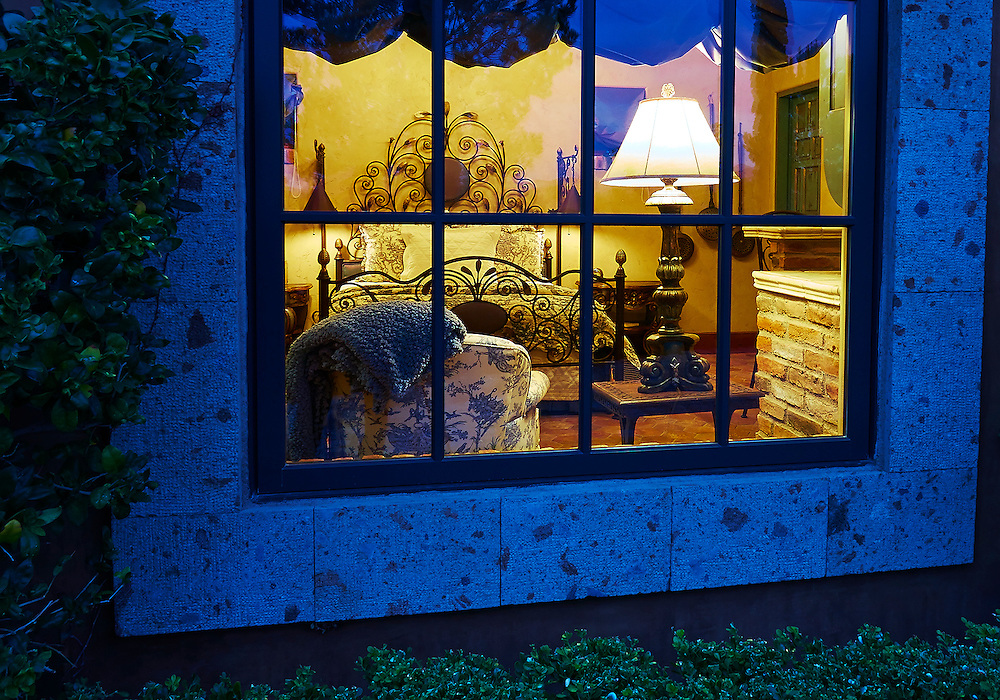 Exterior looking in to the bedroom of casita .