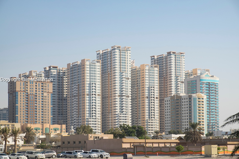 View of modern high-rise residential apartment blocks in Ajman Emirate in United Arab Emirates