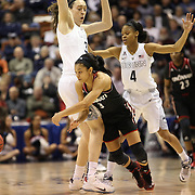 Ana Owens, (right), Cincinnati, is blocked by Breanna Stewart, UConn, during the UConn Vs Cincinnati Quarterfinal Basketball game at the American Women's College Basketball Championships 2015 at Mohegan Sun Arena, Uncasville, Connecticut, USA. 7th March 2015. Photo Tim Clayton
