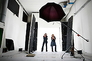 Wednesday February 20th 2008.  .Issy les Moulineaux (Hauts de Seine), France.Valentine Feau and Sandrine Jouanin in the photo studios of the press group Marie-Claire during the shooting of their theatre play poster. .Boulevard des Frères Voisins..